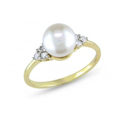 1/8 CT  Diamond TW 7.5 - 8 MM White Freshwater Pearl 10K Yellow Gold Ring