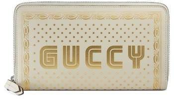 Gucci Guccy Logo Moon & Stars Leather Zip Wallet