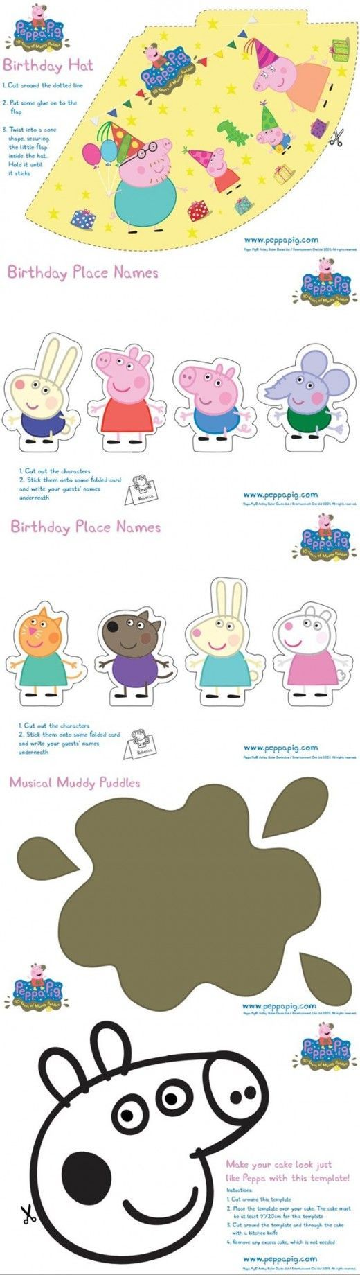 FREE Peppa Pig Party Printables (Birthday Hat, Place Names or stickers, activity sheets)