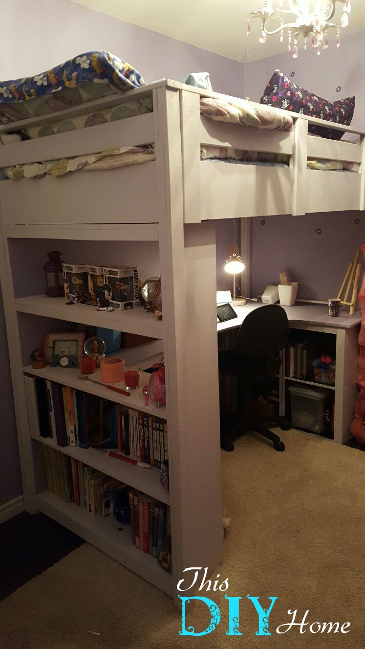 Boys loft bed with desk  Ana White  Loft Bed with Desk u Bookcase  DIY Projects  boys