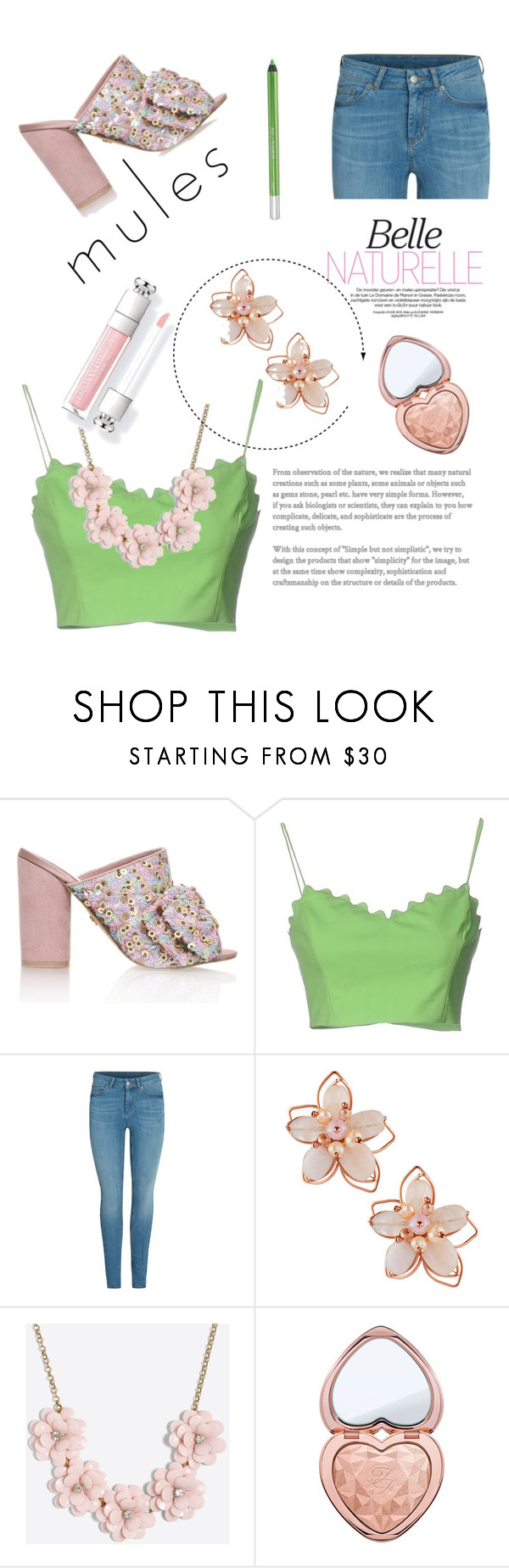 """""""Spring!!"""" by martina-b33 ❤ liked on Polyvore featuring KG Kurt Geiger, Moschino Cheap & Chic, NAKAMOL, J.Crew, Too Faced Cosmetics and Urban Decay"""