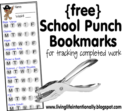 free homeschool punch cards free assignment reward chart bookmarks organizing and school. Black Bedroom Furniture Sets. Home Design Ideas
