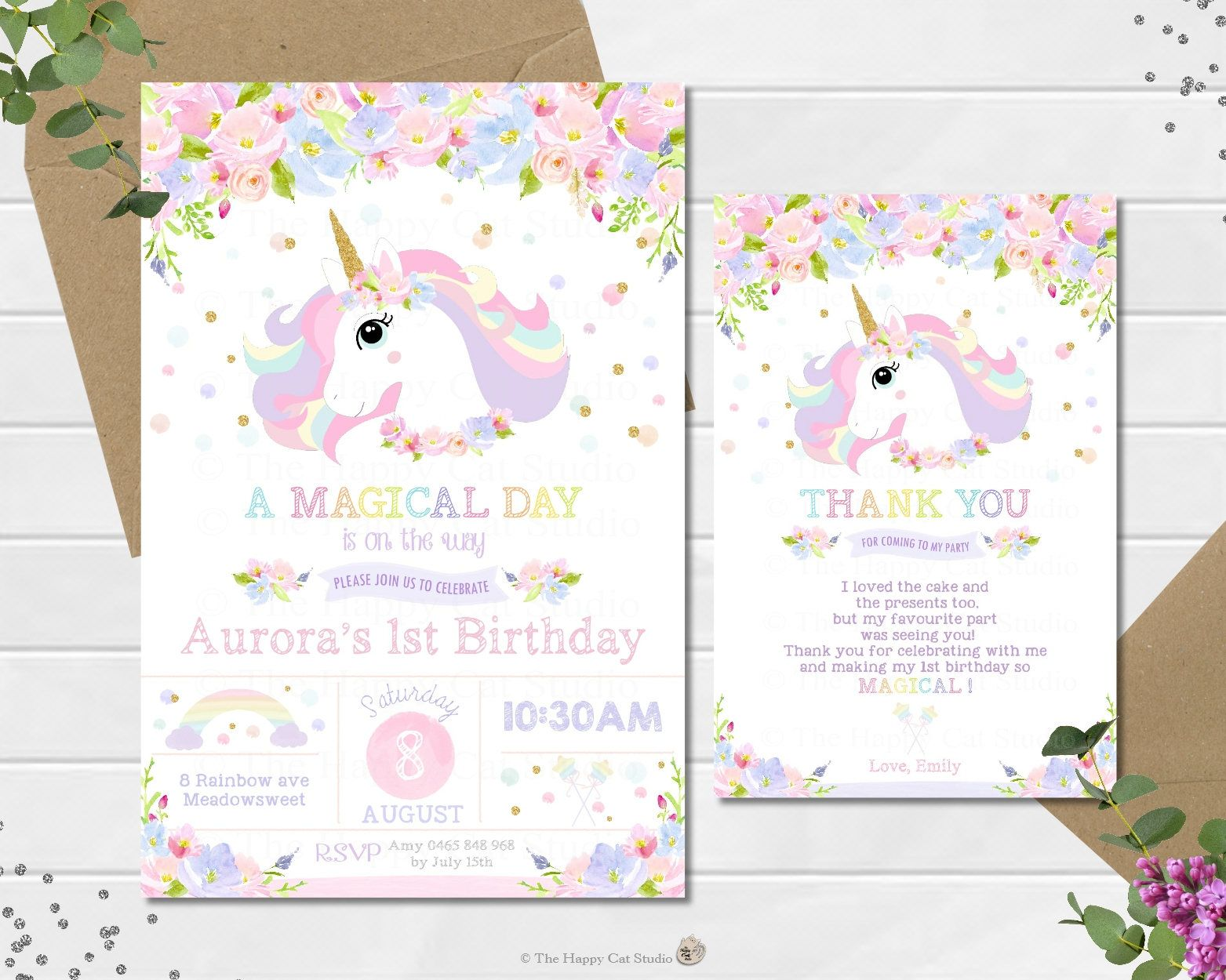Unicorn Invitation Invite 1st First Birthday Card Pink Gold Rainbow