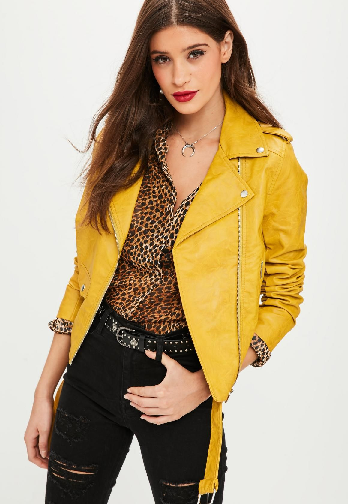 this jacket features in a faux leather and a yellow hue