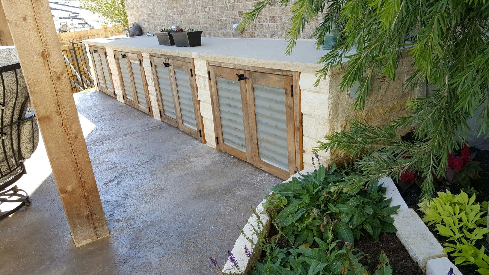 Outdoor Kitchen Rustic Cabinet Doors Using Barn Wood Frames And Reclaimed Corrugated Tin Patio Ideas In 2019 Kitchen Shelf Decor Rustic Doors Kitchen Cabinets To Ceiling
