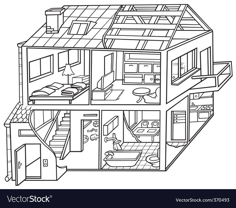 Dwelling House Vector Image On Vectorstock In 2020 Dream House Drawing House Drawing Design Your Dream House