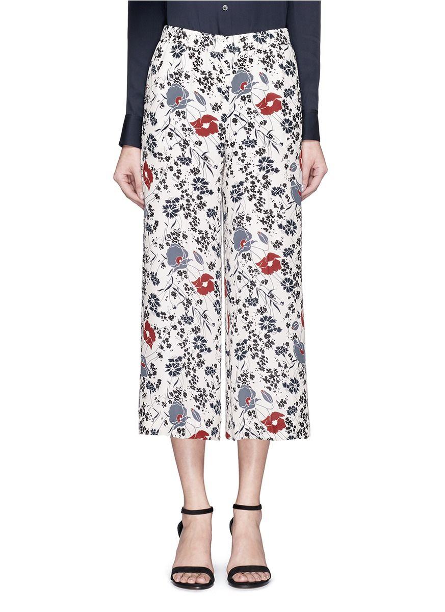 THEORY 'Raoka Wb' Floral Print Silk Georgette Pants. #theory #cloth #pants