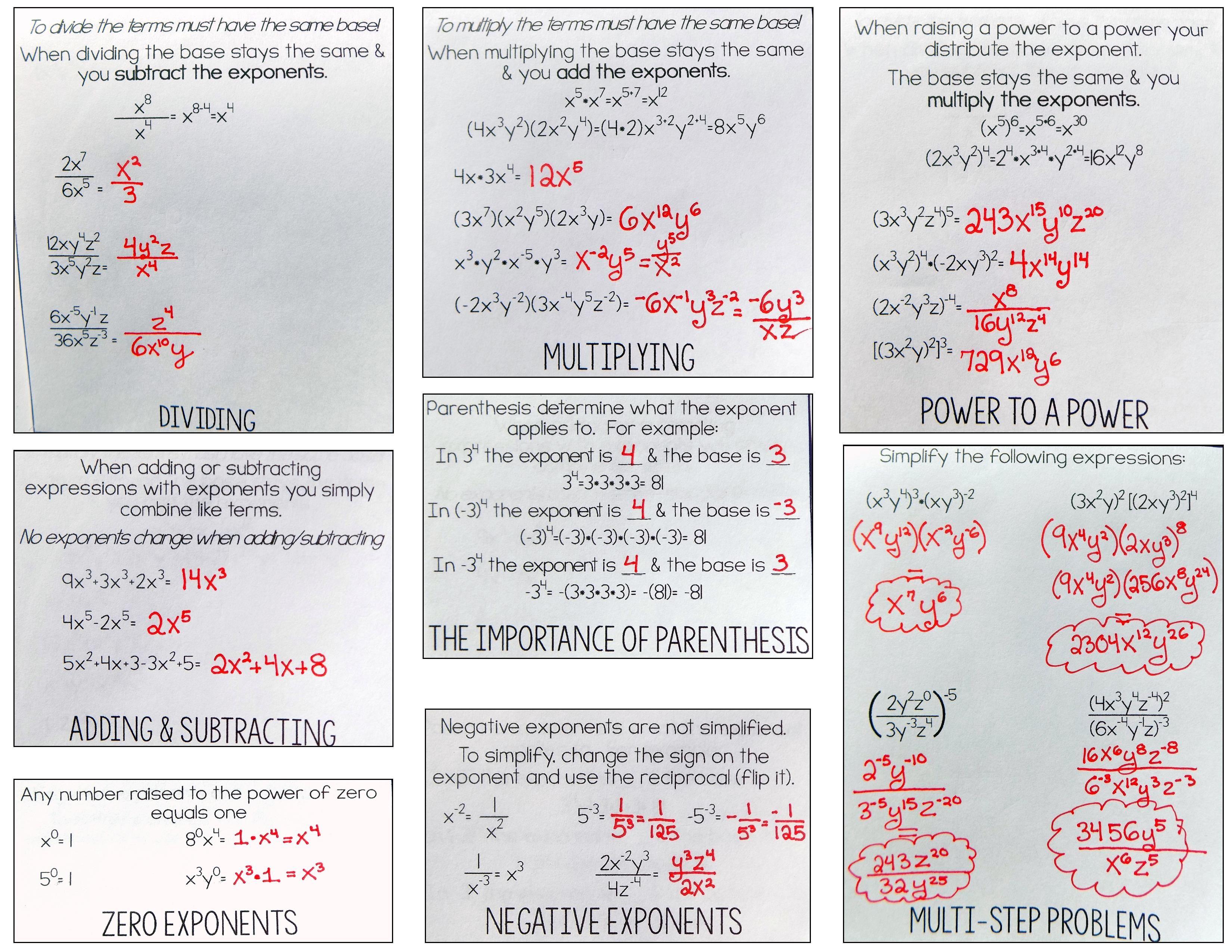 Properties Of Exponents Flip Book Algebra 1 Hs Geometry Hs Geometry Exponent Worksheets Algebra [ 2550 x 3300 Pixel ]
