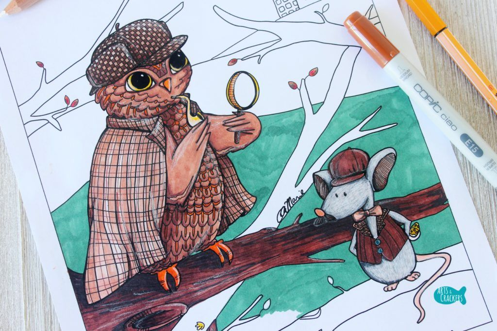Whooodunnit Owl Coloring Page Close