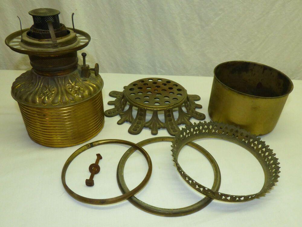 Antique Fostoria Gwtw Oil Lamp Parts Brass Font Rings Burner Cast Iron Base Antique Oil Lamps Antique Lamps Oil Lamps