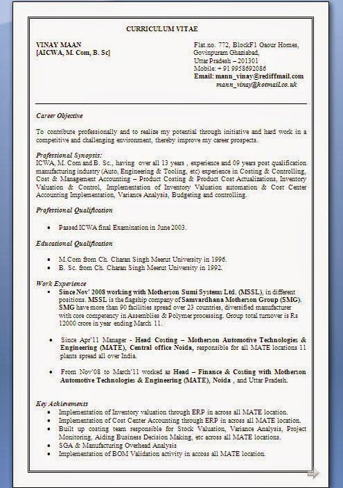 Plant Accountant Sample Resume Creating A Resume Sample Template Example Of Excellent Curriculum .