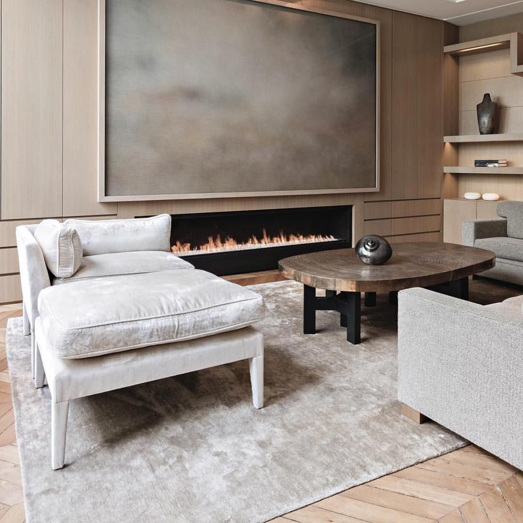 Modern interior design living room with and without a fireplace (photo and video recommendations)