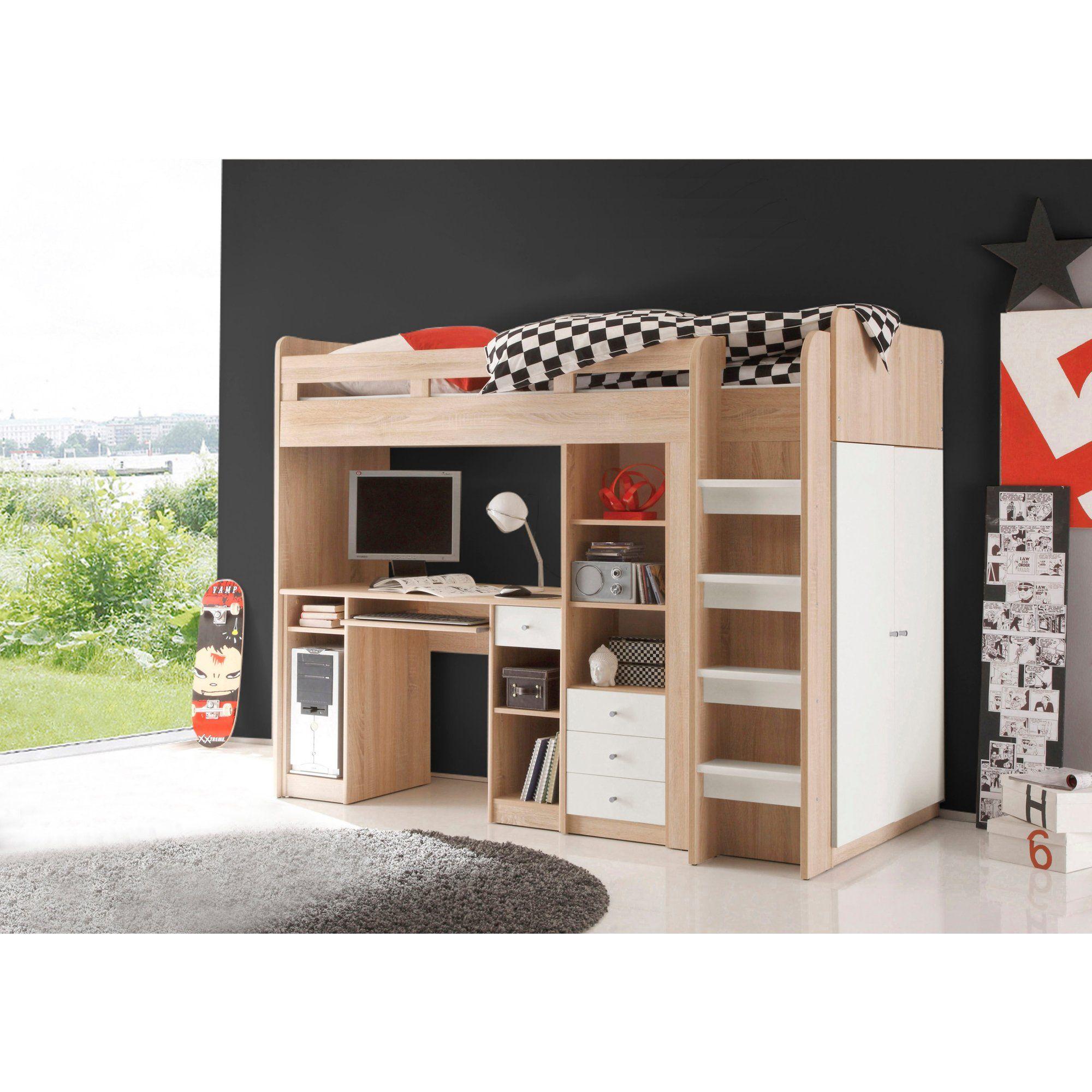 Lit Mezzanine Avec Rangement Pas Cher ensemble lit mezzanine avec bureau + penderie + étagère