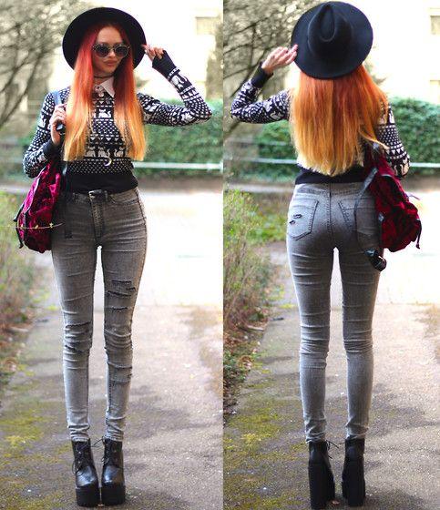 Diy Faux Collar, Second Hand Kitty Jumper, H&M Red Backpack, Diy Distressed Denim Pants, Salt And Pepper Platform Heels