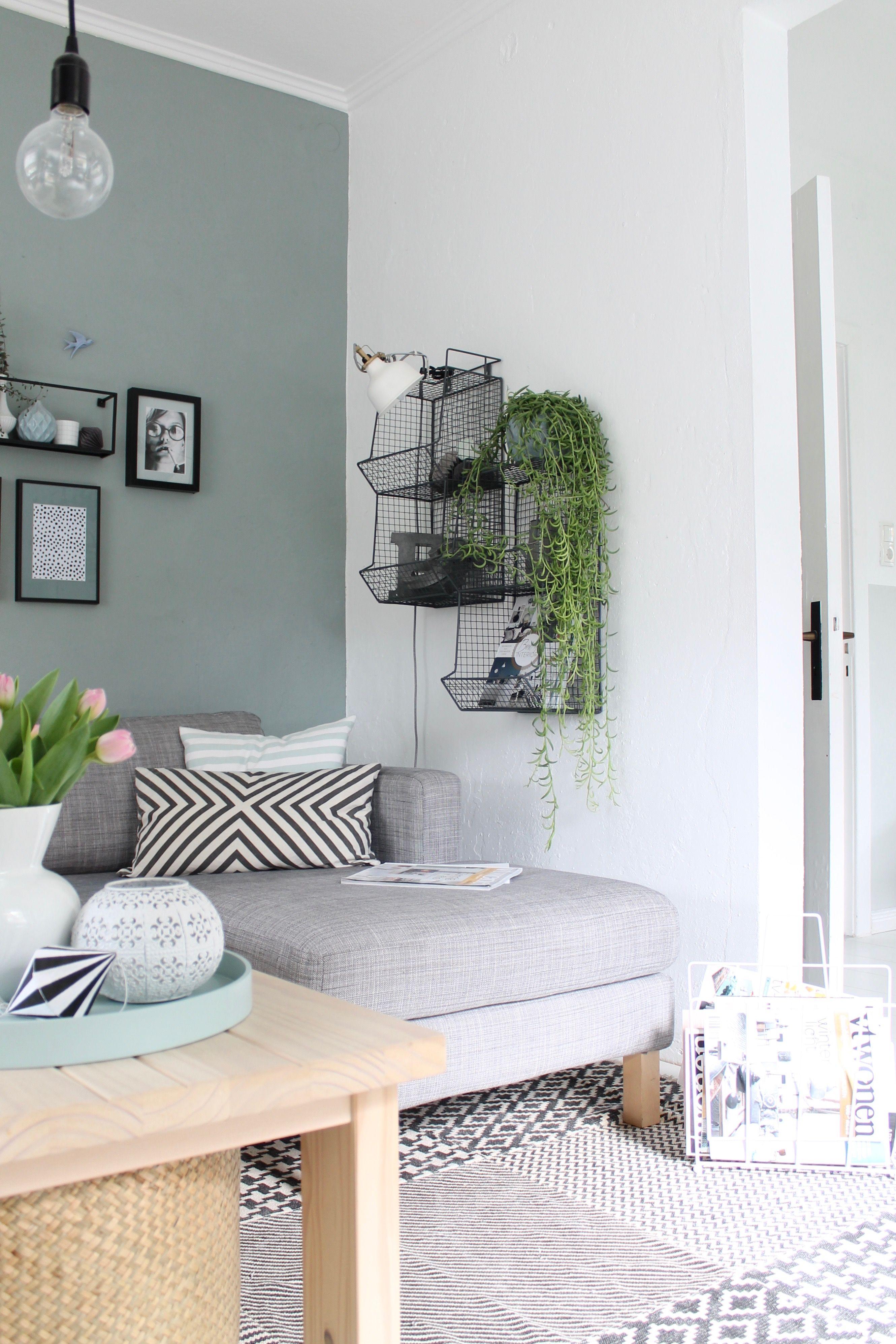 grün an der Wand | Farbgestaltung wohnzimmer, Wandfarbe ...