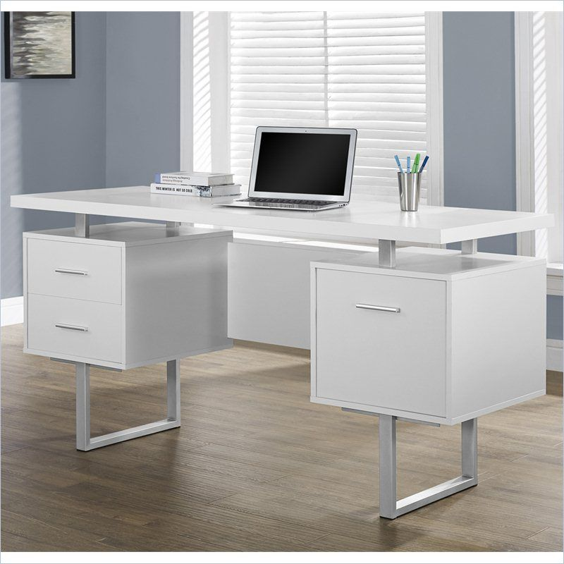 Monarch 60 Hollow Core Office Desk In White White Desk Office