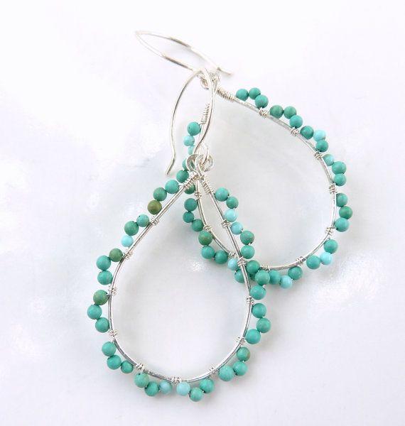 Handmade silver turquoise boho earrings | earing ideas | Pinterest ...