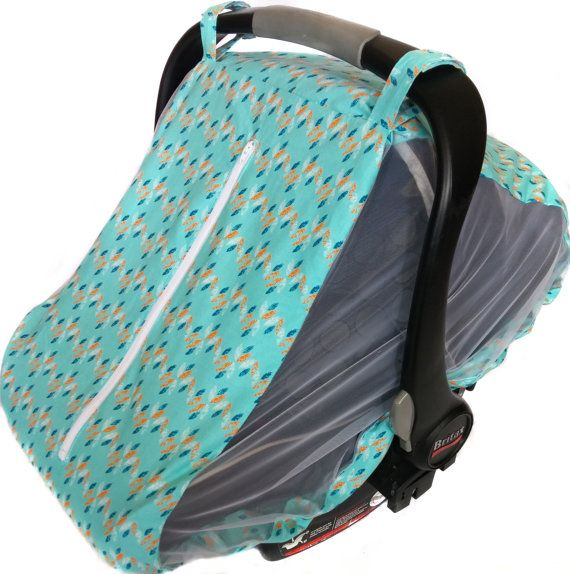 Turquoise Fitted Infant Car Seat Cover For Summer