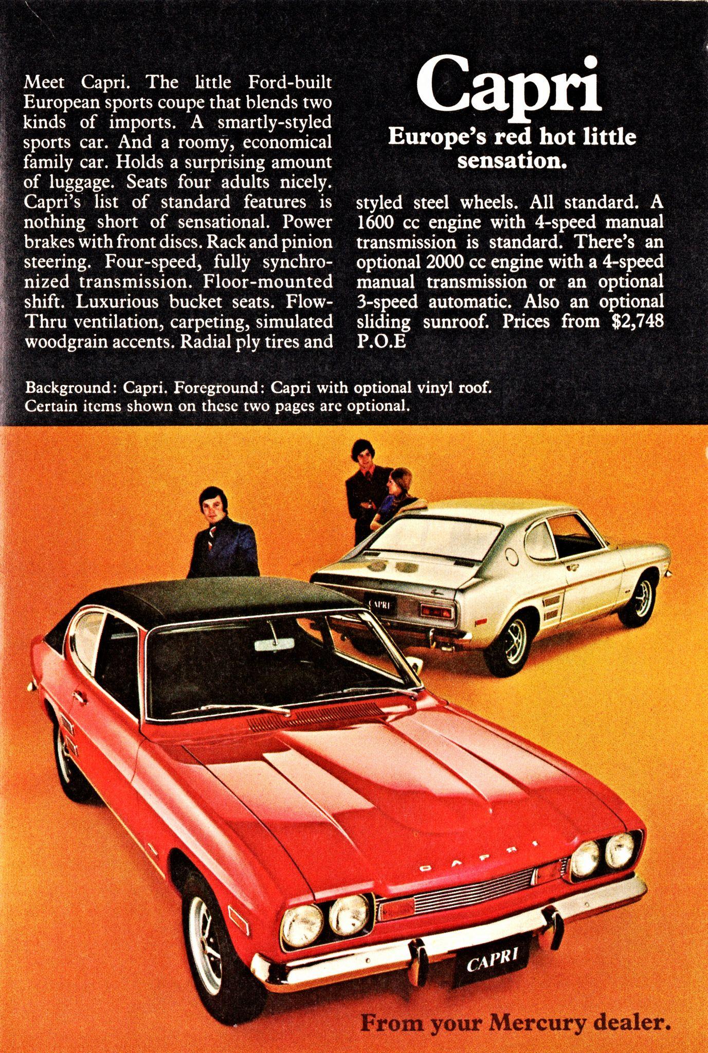 1971 Ford Capri Ad (Canada) | Ford capri, Ford and Cars