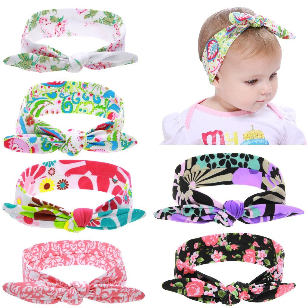 inSowni 6PCS//Lot Self Tie Arrow Bunny Ears Headband Hair Bands Bow Accessory