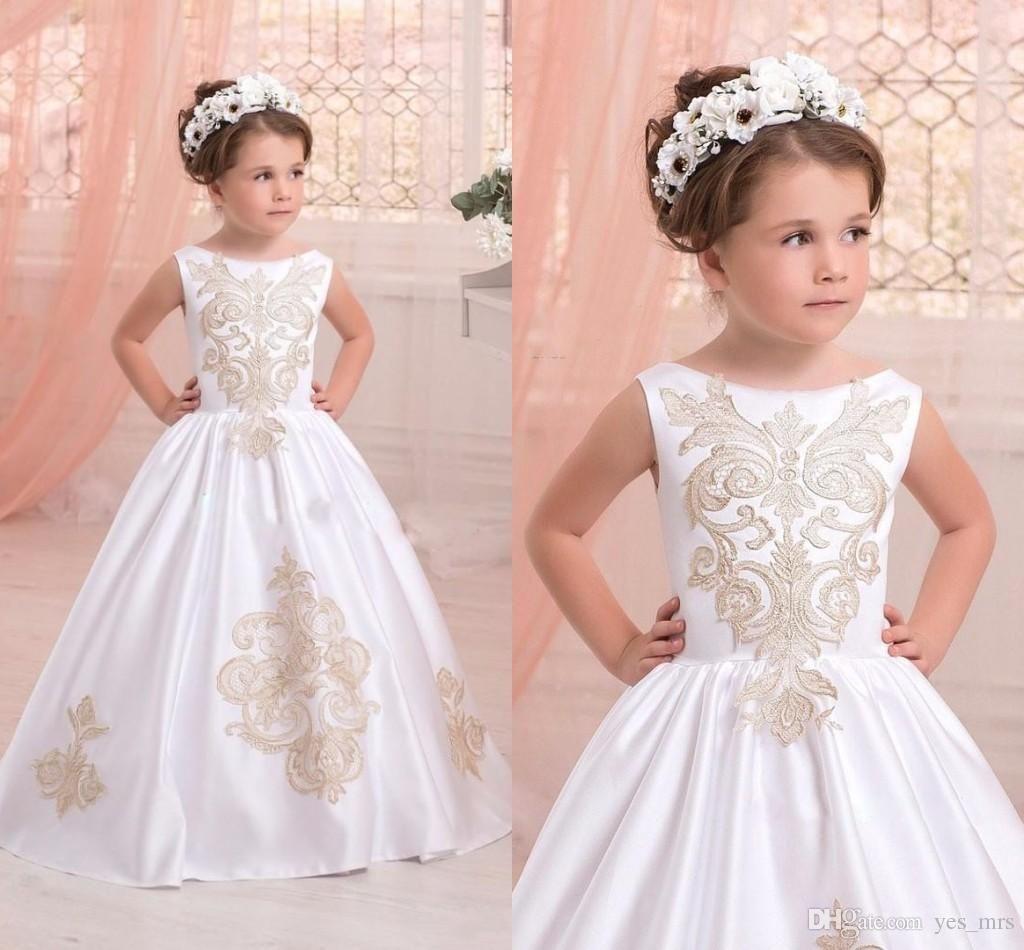 new cheap simple flower girls dresses for weddings jewel neck
