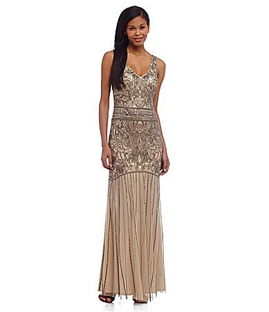 23cfae34c61 My next black tie event dress - JS Collections Vintage Deco Beaded Mesh Gown   Dillards