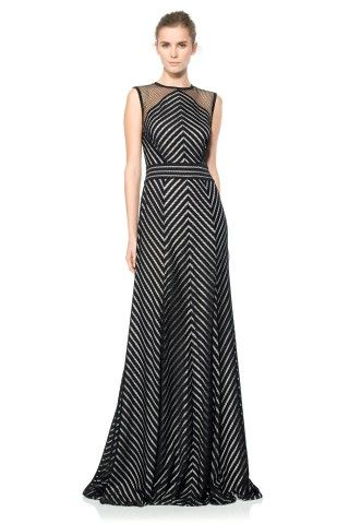 Tadashi Shoji Stripe Knit Chevron Gown | Favorite evening gowns ...