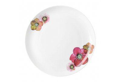 Talerz obiadowy, biały z kwiatem, Loveramics