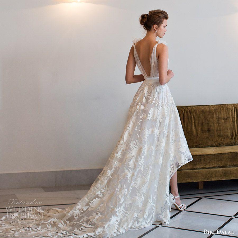 riki dalal bridal 2016 sleeveless tie straps deep vneck high low a line wedding dress (1814) bv retro romantic casual long train