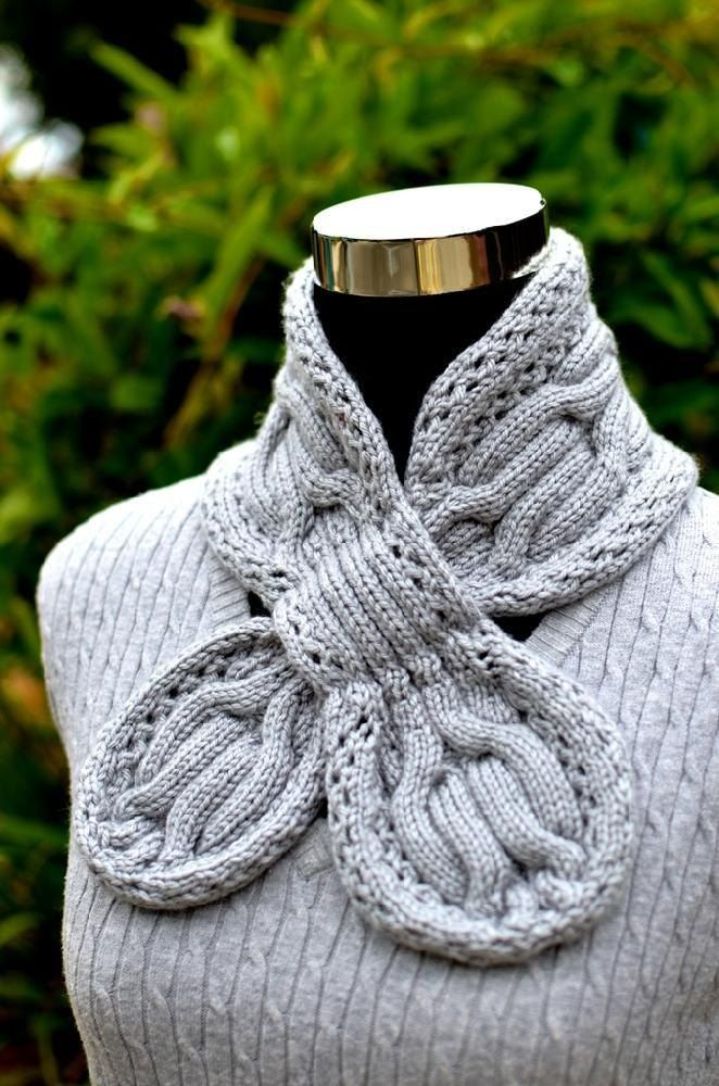 Gray Circle Cables Scarf ( Keyhole / Ascot / Pull-Through / Vintage ...