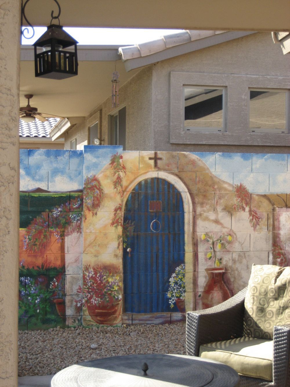 Concrete Block Wall Painted Exterior Outdoor Painting