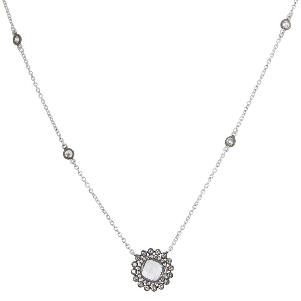 Rhodium flower with cubic zirconia zokydoky bridal bling