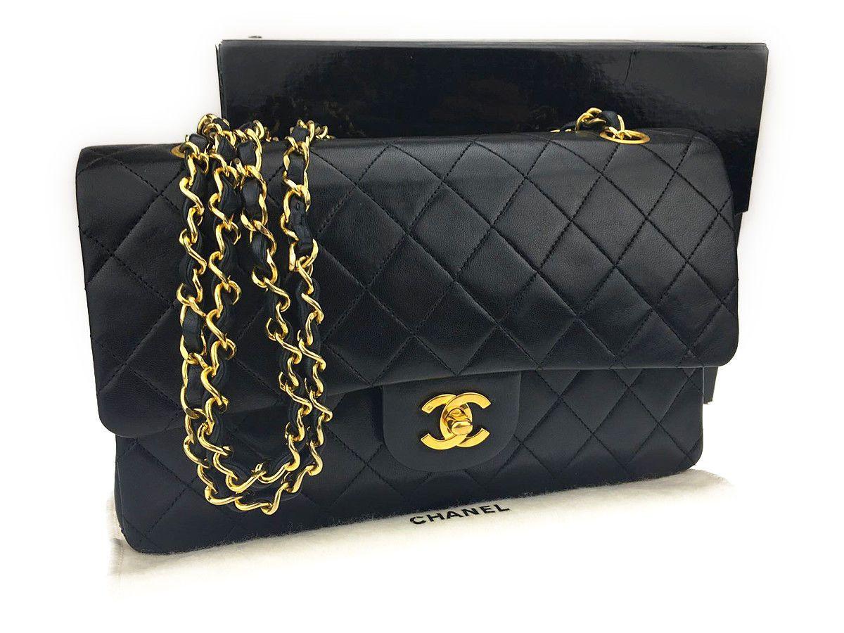 b083d1e8d20c Auth CHANEL Matelasse Double Flap Black Lambskin Leather Chain Shoulder Bag