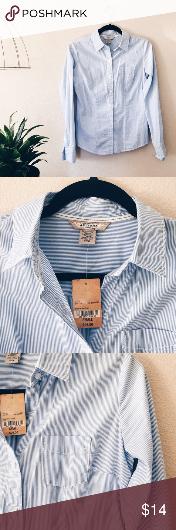 ▪️SALE▪️Fitted button-up top Thin blue and white stripes grace this fitted button-up top- perfect for work or wear un-buttoned for a casual look!  Brand new with tags from JC Penny! Arizona Jean Company Tops Button Down Shirts