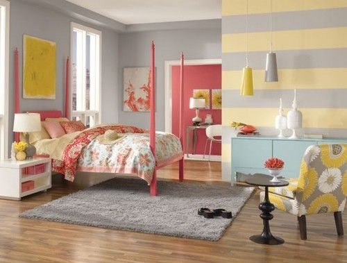 Pink Yellow Gray And Blue Bedroom Such A Unique But Beautiful