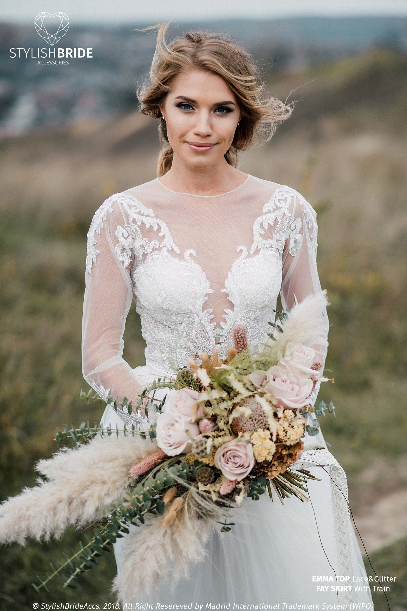 Emma Glitter Wedding Top, Glitter and Lace Crop Top with