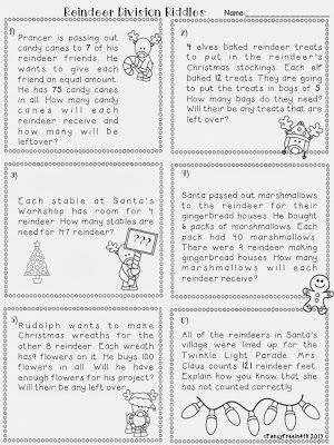 Division Word Problems Reindeer Remainder- a festive division - long multiplication worksheets