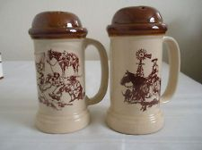 Vintage 1980 Westward Ho J Downs X Large Salt and Pepper Shakers Western Enesco