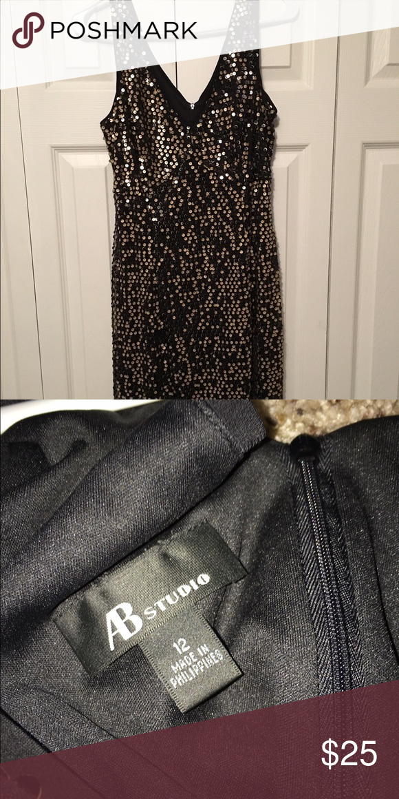 """Black and gold sequin dress Super cute sexy dress!! Black with gold sequins-- would be great for a holiday party!! Only worn a few times. It comes right above the knee (I'm 5'9""""). AB Studio Dresses"""