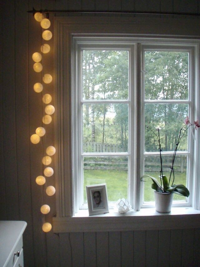 Get 2 of white cotton ball lights for home decoration - String lights for bedroom ...