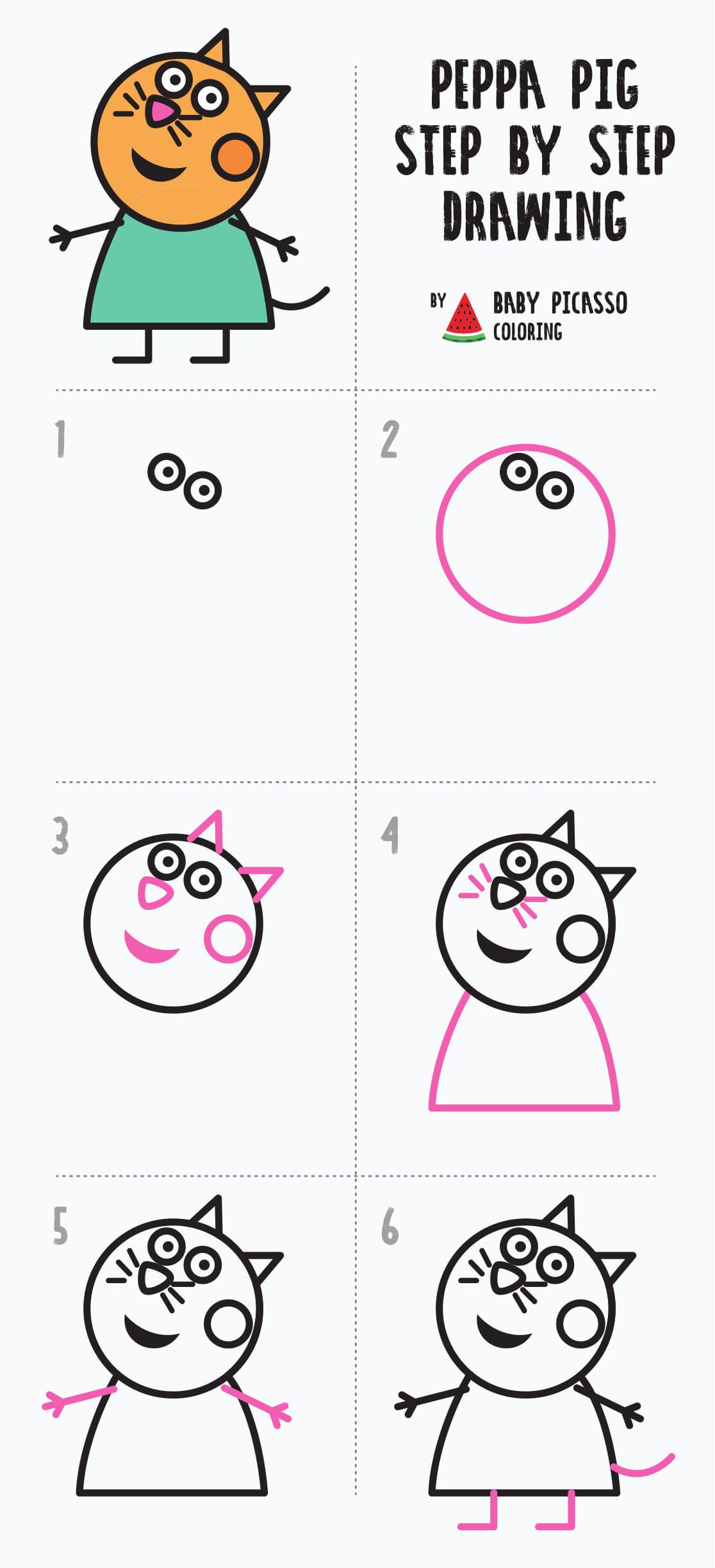 How To Draw Candy Cat Peppa Pig Drawing And Coloring Pages Peppa Pig Drawing Peppa Pig Coloring Pages Peppa Pig Colouring