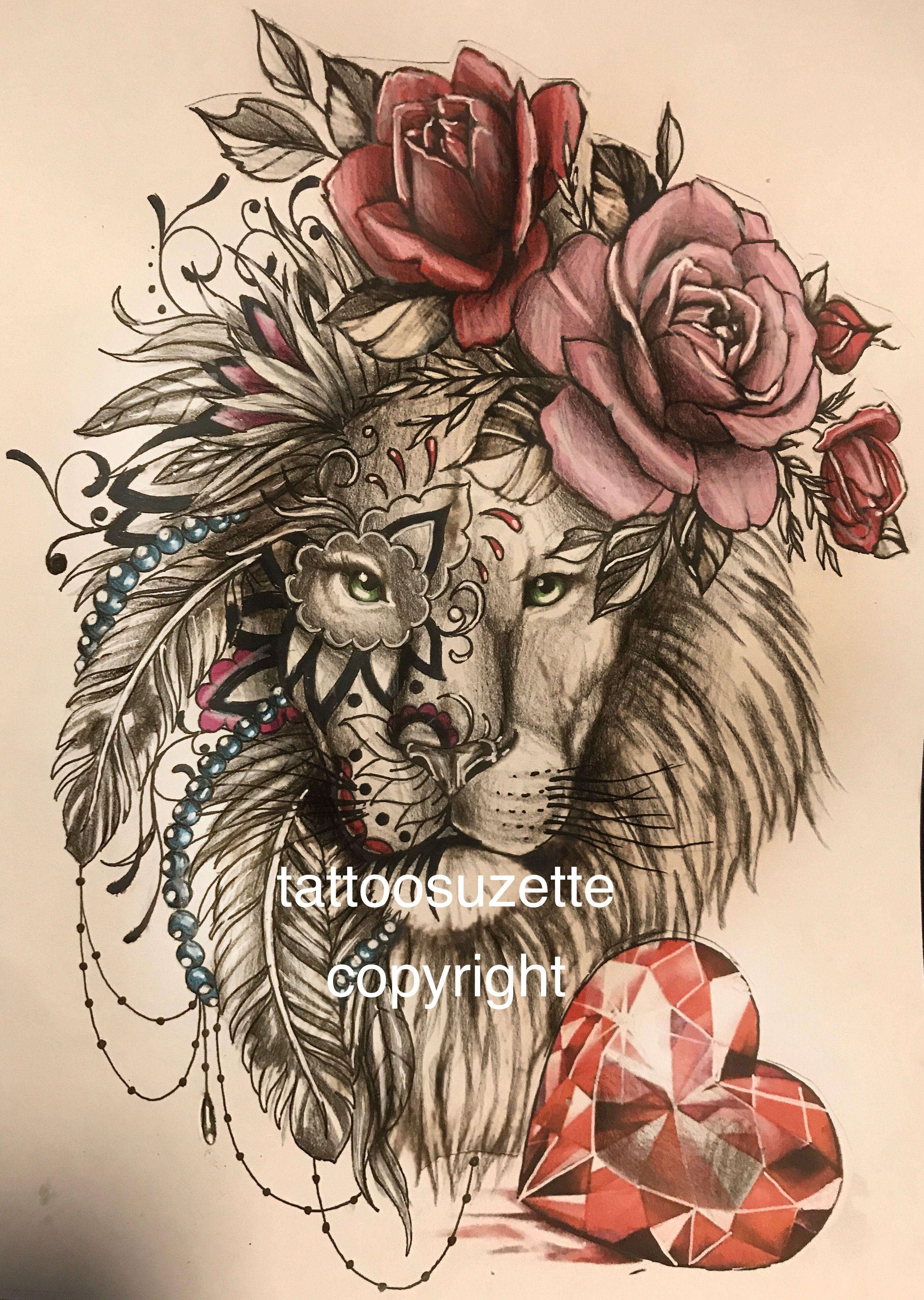 Girly Lion Tattoo Design Lion Tattoo Design Lioness Tattoo Mandala Lion Tattoo