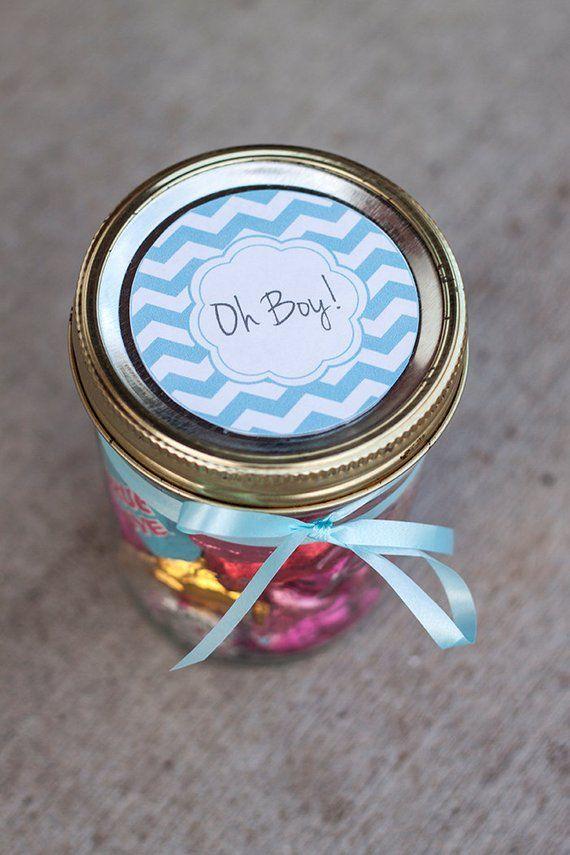 Printable baby shower mason jar label PDF for boy | Chevron Oh Boy