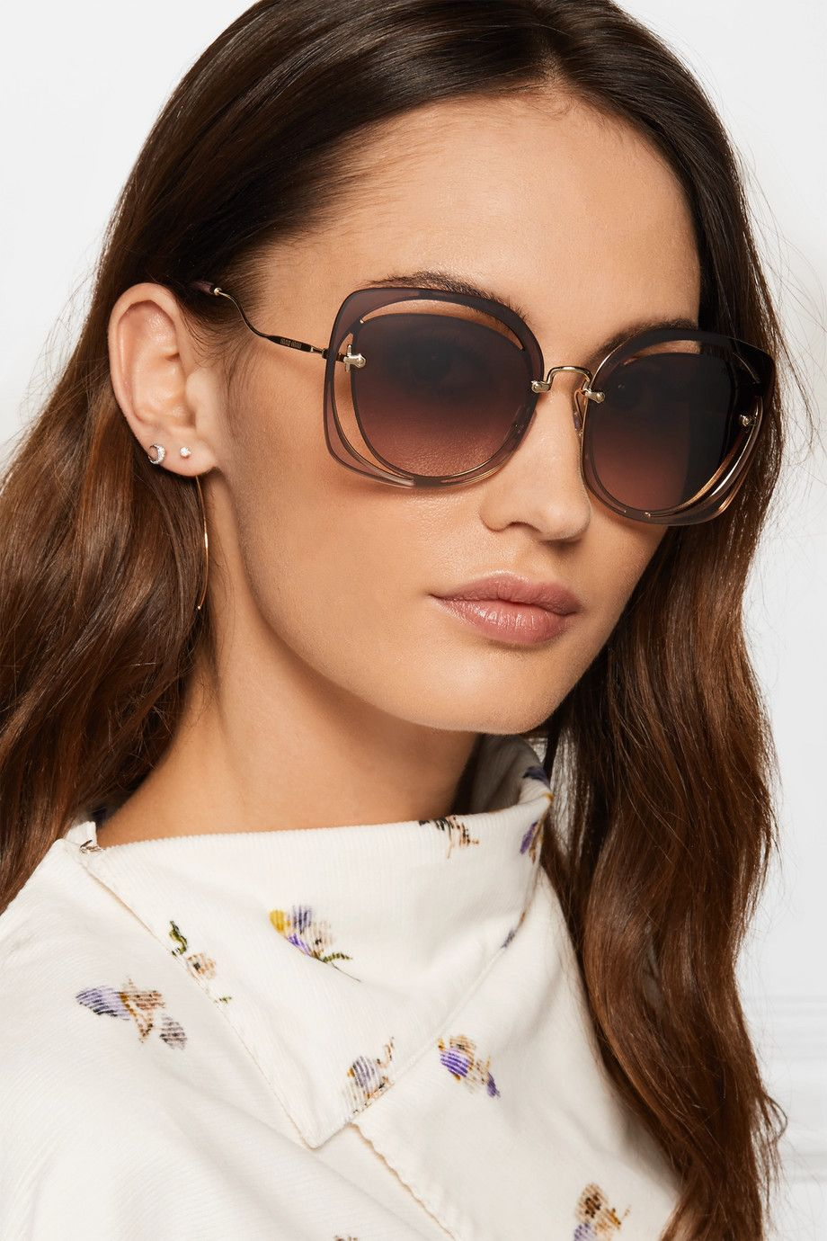 0d54979059f9 Miu Miu Scenique square-frame cutout acetate and gold-tone sunglasses $480