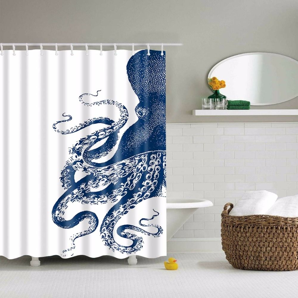 Squid Printed Polyester Waterproof Shower Curtain (include 12 pcs ...