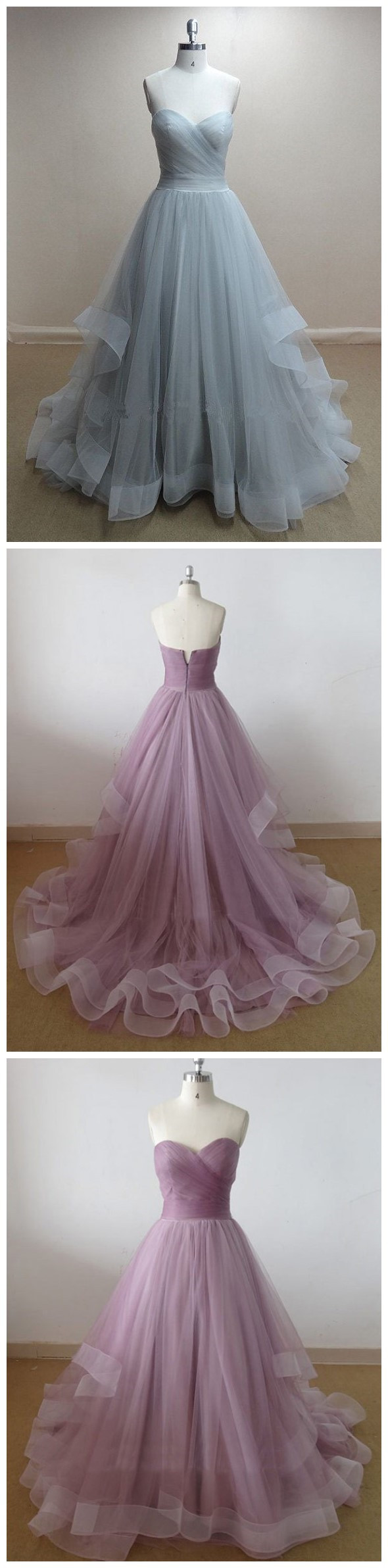 Simple elegant aline sweetheart ruched tulle long prom dressparty