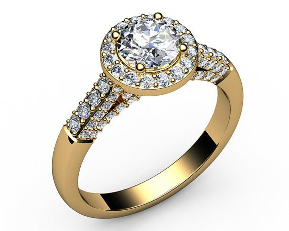 Mothers day gift Unique Halo Engagement Ring Diamond