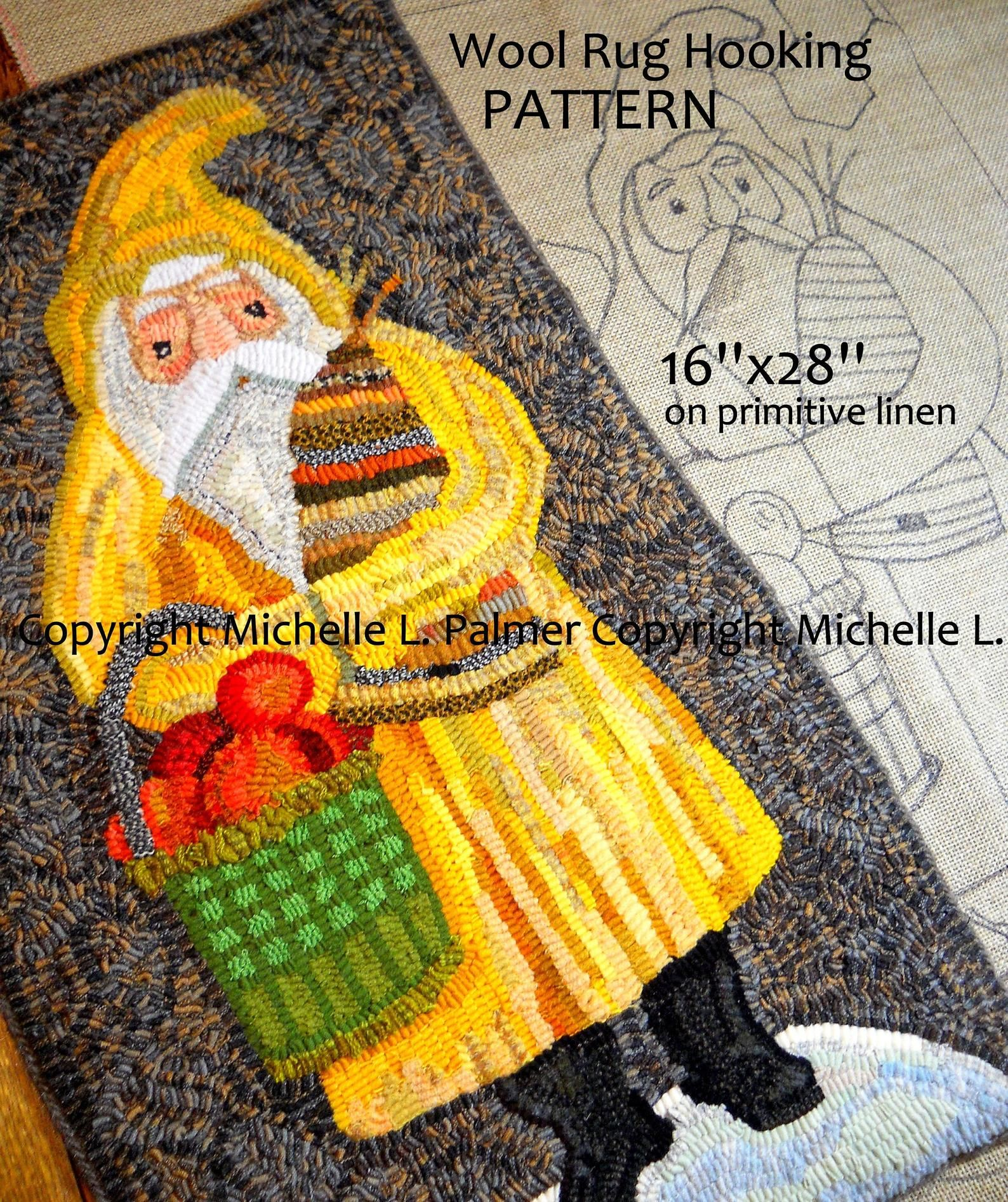 Prim Folk Vintage Santa Claus RUG HOOK Hooking PATTERN