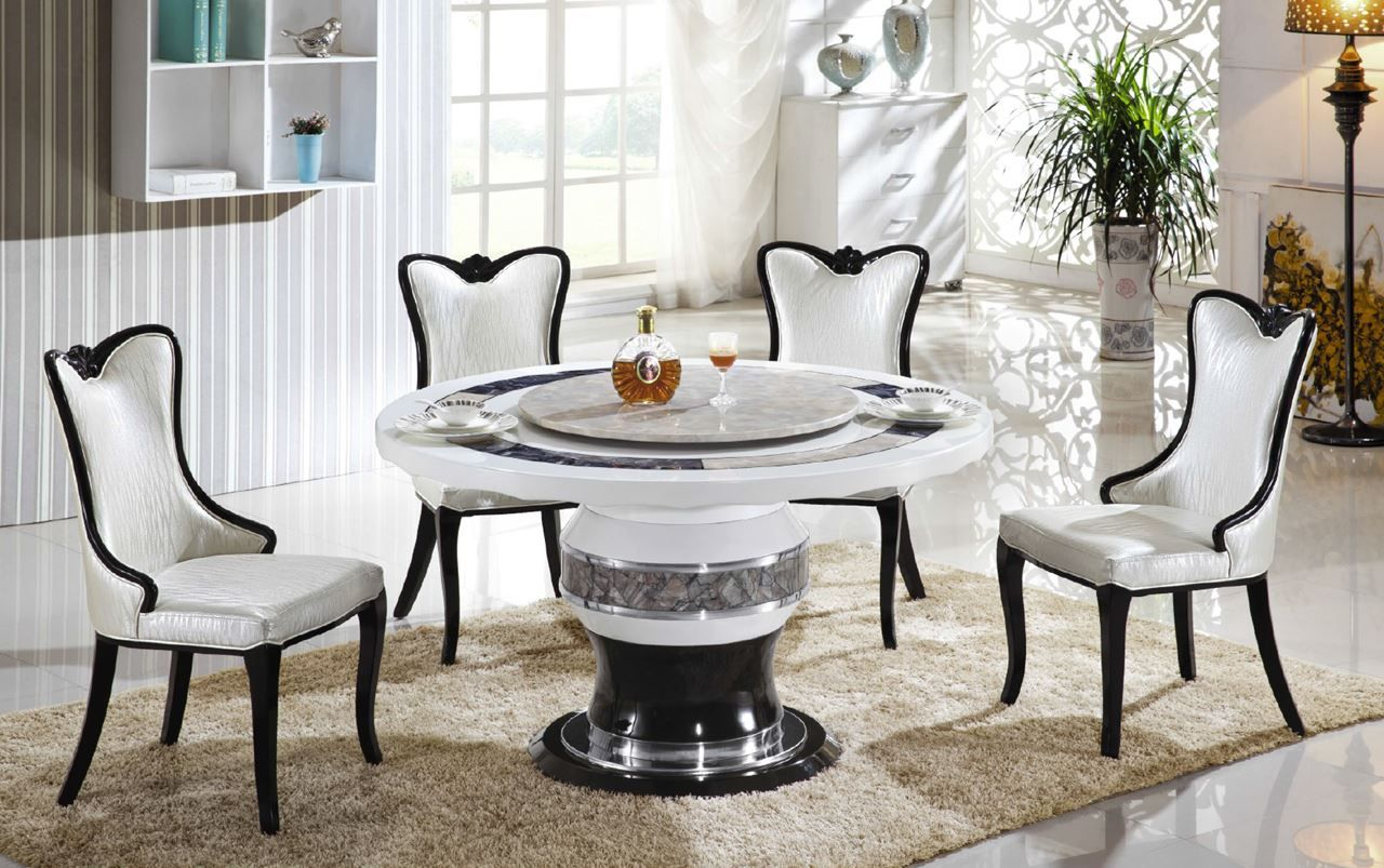 Dining Room Modern Round Marble Dining Table For 4 Dining Chairs Captivating Dining Room Tables With Marble Top Inspiration
