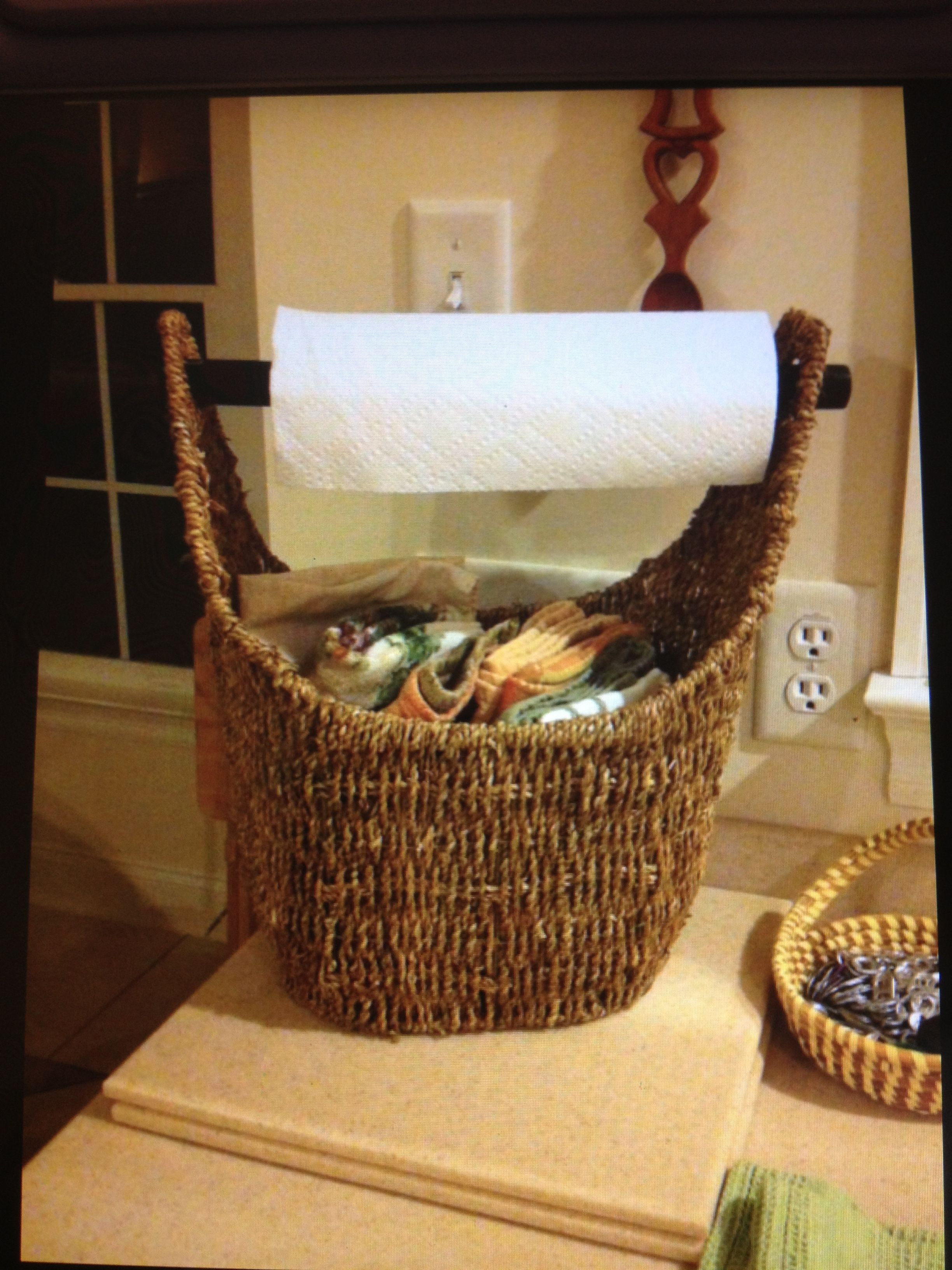 This Is A Great Idea It S A Thirty One Magazine Basket Used In The Kitchen For Paper Towels And Dish Towels Thirty One Gifts Thirty One Uses My Thirty One